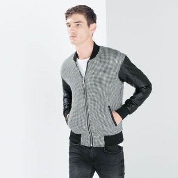 0b3786e5a NEW ZARA MAN HOUNDSTOOTH QUILTED BLACK BOMBER NWT